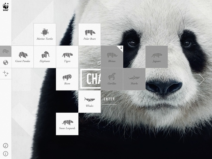 WWF app - origami unfolding navigation to show the key endangered animals which goes on to more great navigation and gesture related exploring