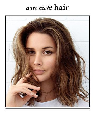 """Montana says to use a flat iron to add """"ribbon-like bends"""" to your hair, keeping all curls winding away from your face. """"When finished, shake the hair out with a little dry shampoo or texture spray like Oribe's Dry Texturizing Spray to give it movement, volume and spice,"""" says Montana."""
