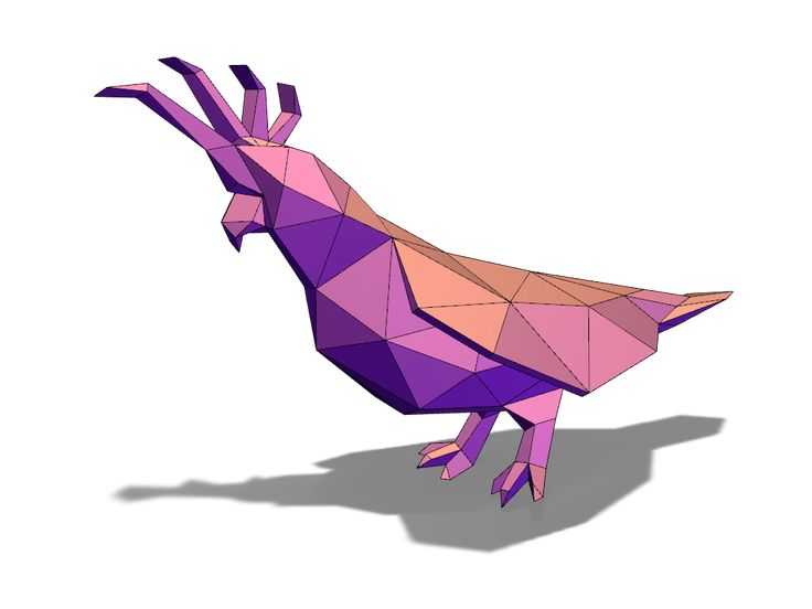 Lowpoly cacadoo - a 3D model created with VECTARY - the free online 3D modeling tool #3Dprinting