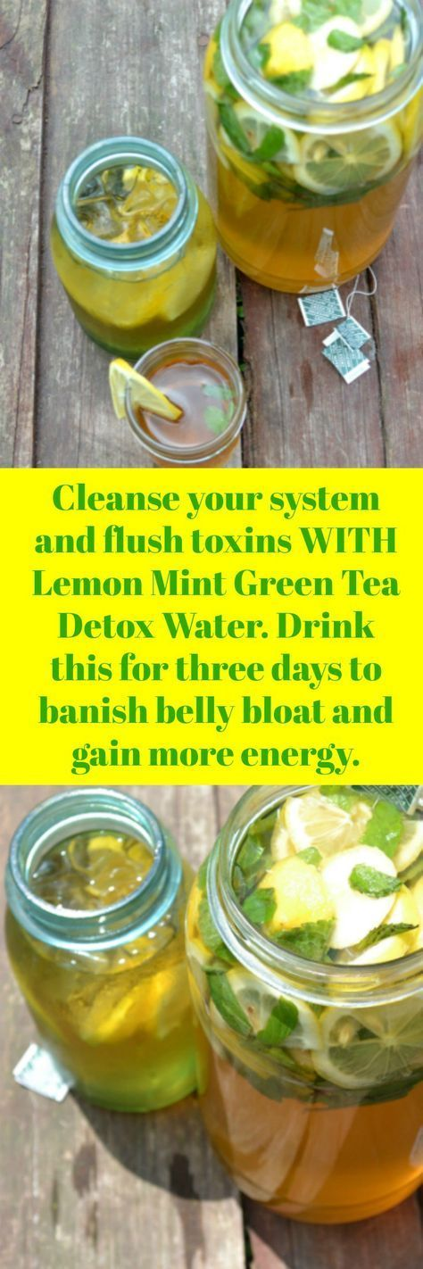 How to lose Belly Bloat! Drink Green Tea Lemon Mint Detox Water for Cleansing and to help banish your belly bloat. Drink first thing in the morning and then again at lunch time. Kick start your metabolism and jump start your weight loss goals. You will actually gain more energy and feel amazingly less stressed when you drink more infused water.  We love homemade weight loss detox drinks!