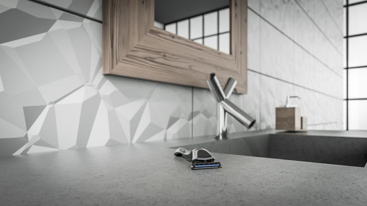 Concrete top in bathroom.