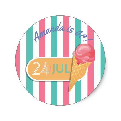 #party - #Ice Cream Birthday Party personalized Classic Round Sticker