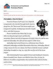 francisco pizarro biography summary worksheet
