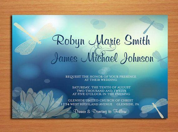 Dragonfly Wedding Invitation PRINTABLE / by Sapphiredigitalworks