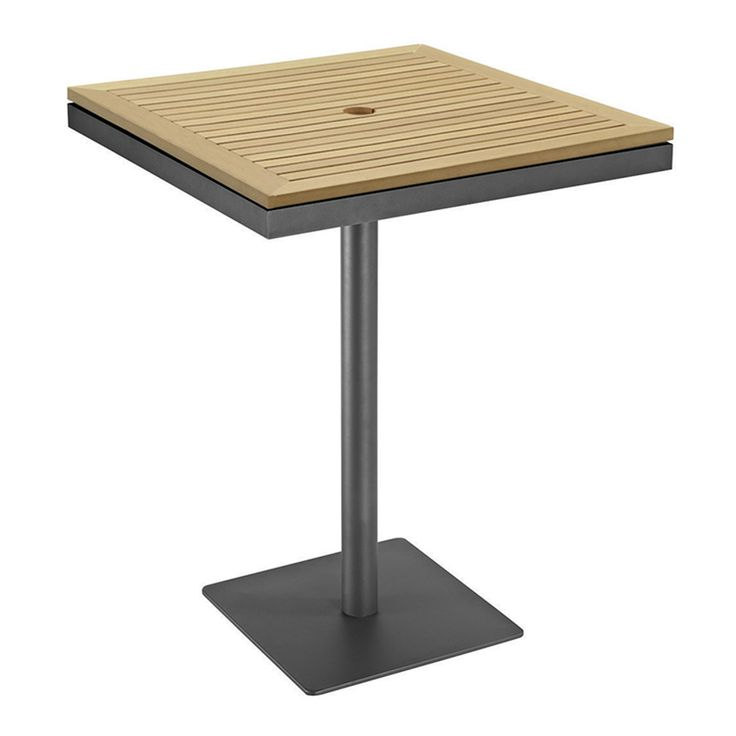 Azore Square Pedestal Bar Table w/Synthetic Wood Top