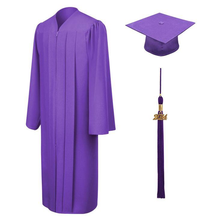 Birrete, toga y borla violeta mate de licenciatura
