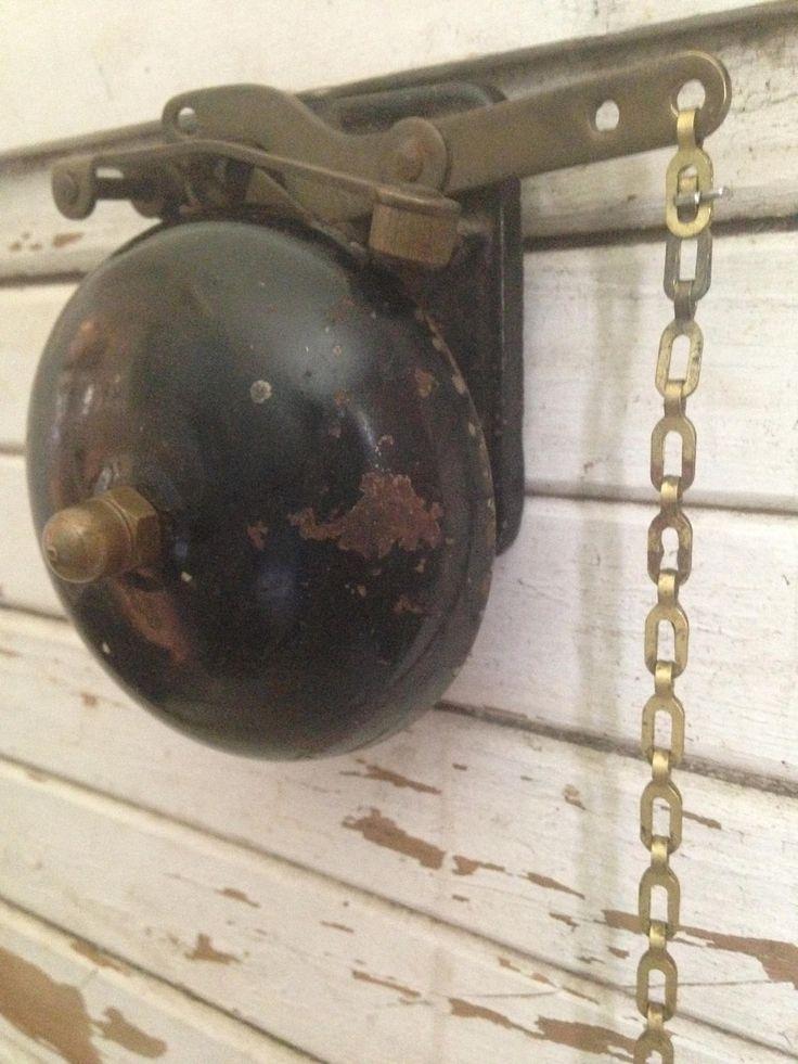 vintage brass School BELL,antique bell,desk bell,front bell,farm bell,door bell,wall mount hand pull,dinner bell,farmhouse,kids playhouse by whimzeesnest on Etsy