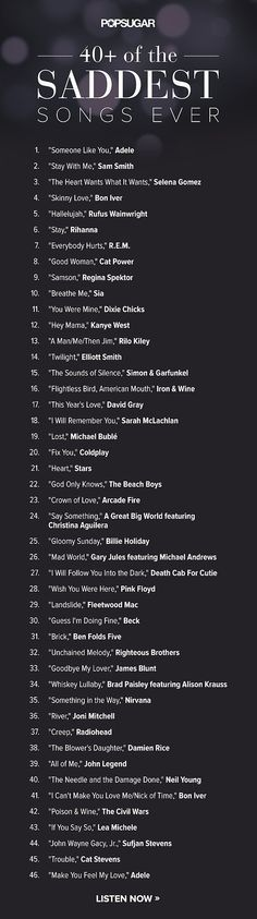 I have listened to a lot of these. What can I say ? I love sad music! It helps me get in the writing mood