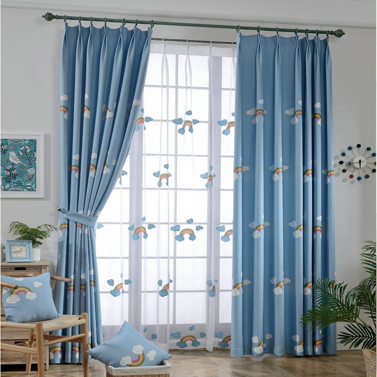 Embroidered  Linen and Cotton  Curtain for Kids Room  Blue Curtain Matched  with White Tulle Rain Bow Cartoon Eco-friendly #Affiliate