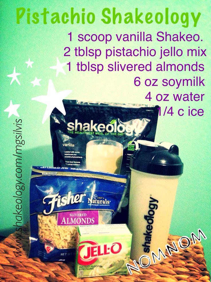Pistachio Shakeology made with pistachio jello pudding mix!