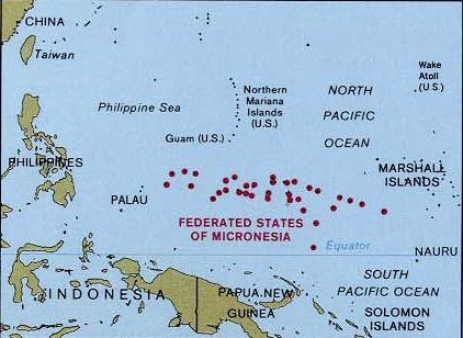Carte des États fédérés de Micronésie ◆Micronésie (pays) — Wikipédia http://fr.wikipedia.org/wiki/Micron%C3%A9sie_%28pays%29 #Micronesia