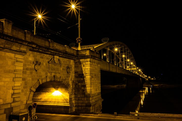 Szeged Downtown Bridge - Bridge at night called Belvárosi híd (which means Downtown bridge) over the Tisza river in the city of…