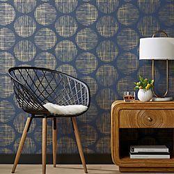 Cross Hatch Circles Gold and Navy Wallpaper
