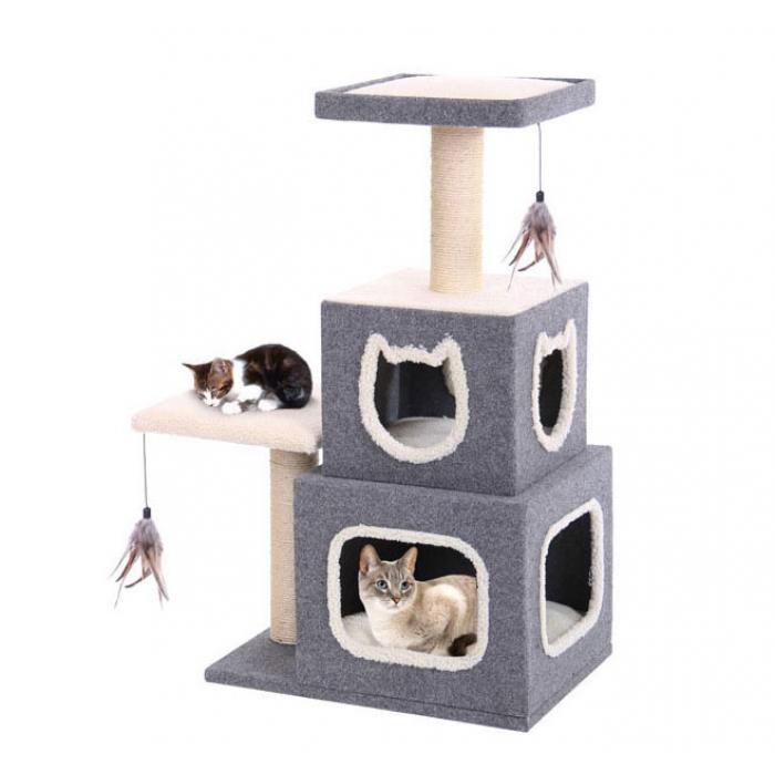 Designer Cat Furniture Condo With Two Feather Toys Cat Lounge Cat Condo Cat Tree Condo