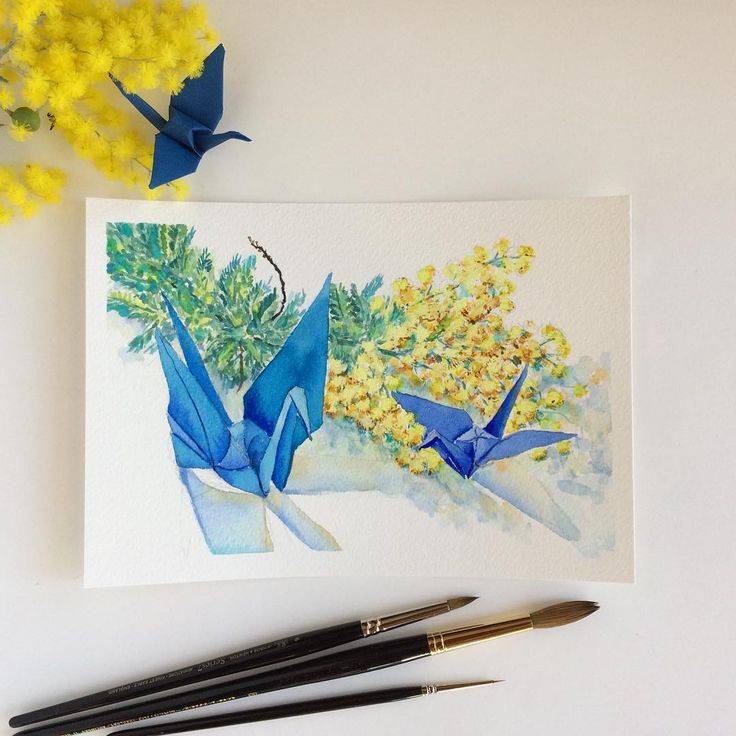 Spring is near (Origami crane painting No 23) small watercolour painting of yellow wattle and blue paper cranes by Zoya Makarova
