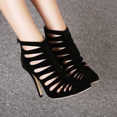 Сексуальная острым носом секс черные высокие каблуки женщины туфли на высоком каблуке с кат-аутов гладиаторские марка женская обувь девушку горячая