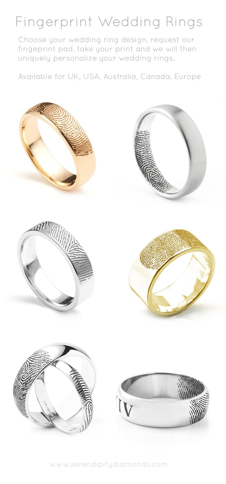 Choose your wedding ring design and contact us for your fingerprint pad. Read our guidance online for this unique service. Available to UK, USA, Australia, Canada and Europe.