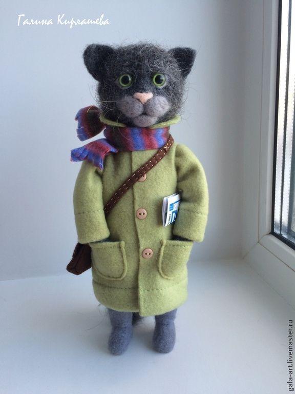 Купить Кот в пальто -2 - серый, зелёный, кот, Валяный кот, ручная работа