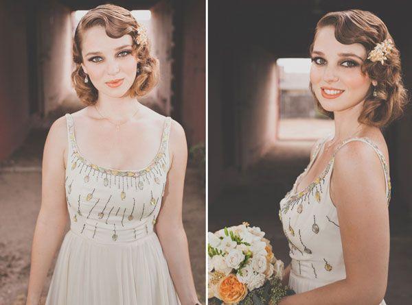 Inspiration coiffure, simple, raffinée, parfait pour une mariée qui prèfere se passer d'un chignon le jour J