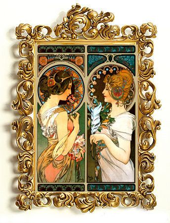 Alphonse Mucha Art Nouveau Two Ladies Colorful Decorative Digital #Art #Print 5 x 7 $12.00