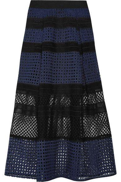 Self-Portrait - Paneled Guipure Lace Midi Skirt - Navy
