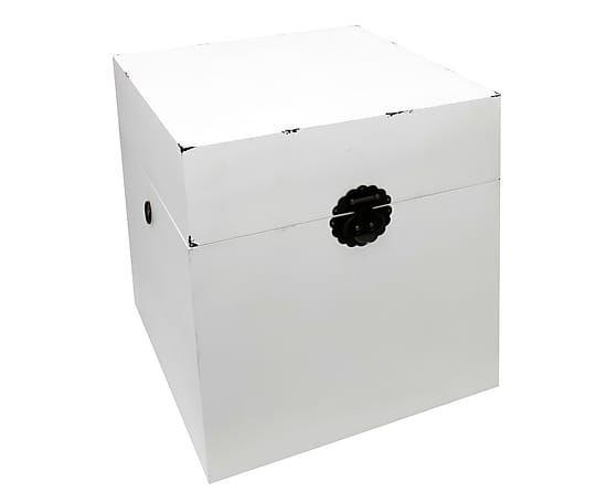 Boîte YUAN bois, blanc et noir - L50