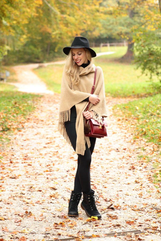 { Crisp Autumn Walk: Fringe poncho, Wool fedora & All-weather boots }