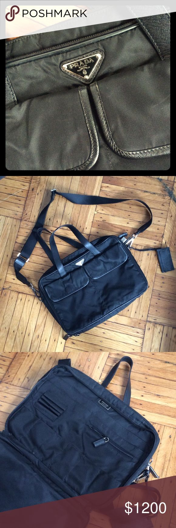 Prada crossbody laptop case MINT Mens (or womens) cross body nylon Laptop and messenger bag, NEVER USED but natural shop wear and tear.  Certificate of authenticity card included. Message for more photos or questions Prada Bags Laptop Bags