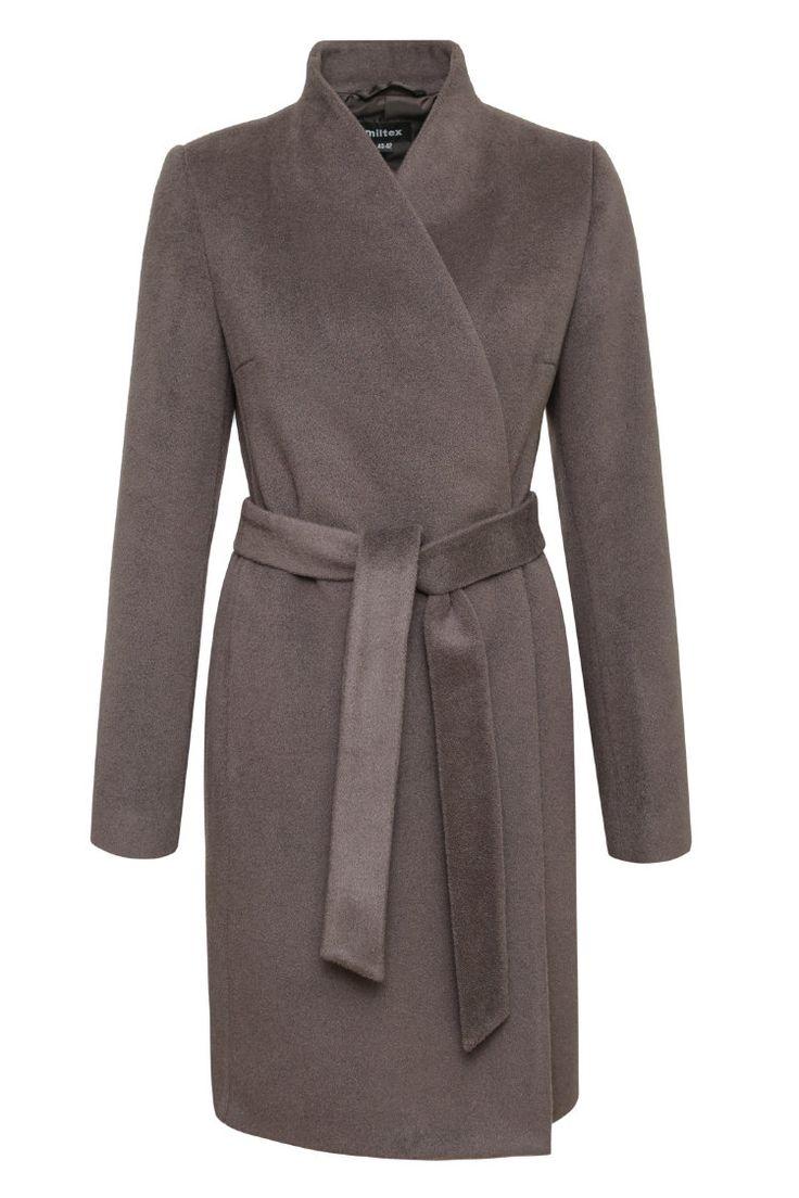 Пальто со стойкой и поясом в стиле Полины Гагариной, какао. Арт. 420