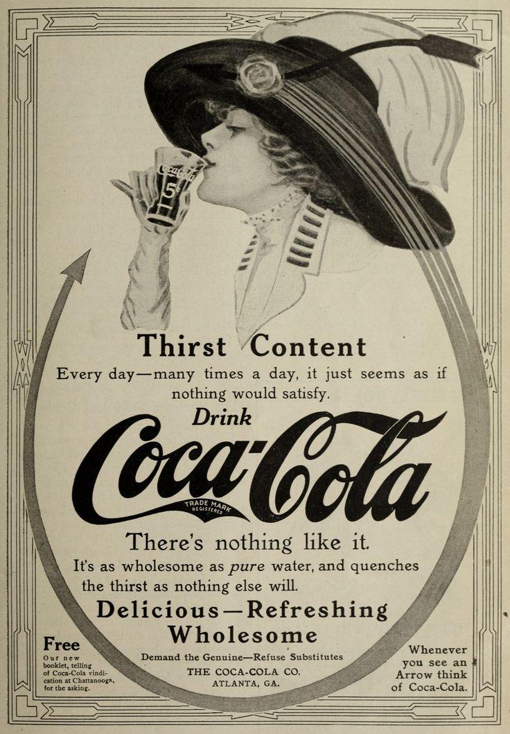Coca-Cola 1890 | Coca-Cola Ad circa 1911 – Woman Enjoying Coke Wearing a Lovely Hat