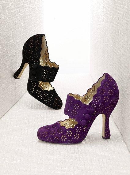 mary jane lace pumps | black or purple