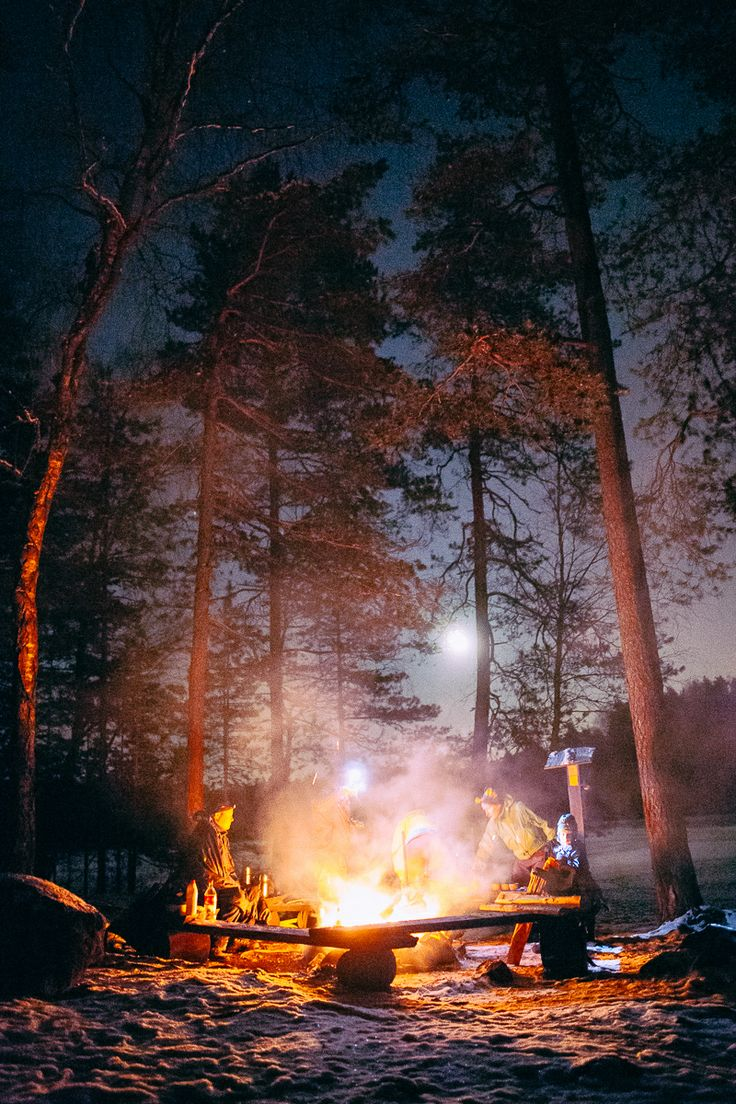 Moonlight Walk in #Nuuksio #Espoo, break on campfire