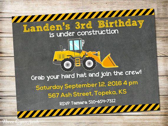 Construction Birthday Party Invitation Construction Party