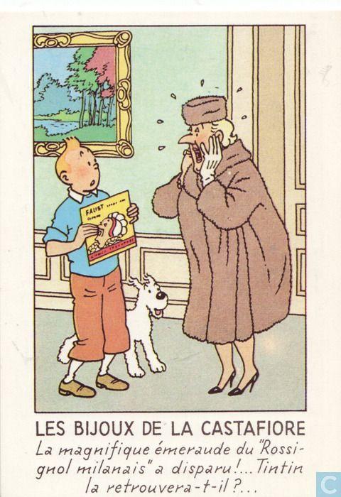 Carte postale - Tintin - Les bijoux de la Castafiore • Tintin, Herge j'aime