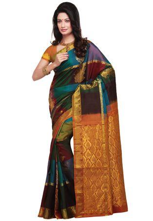 Multicolor Shot Tone Pure Kanchipuram Silk Saree with Blouse