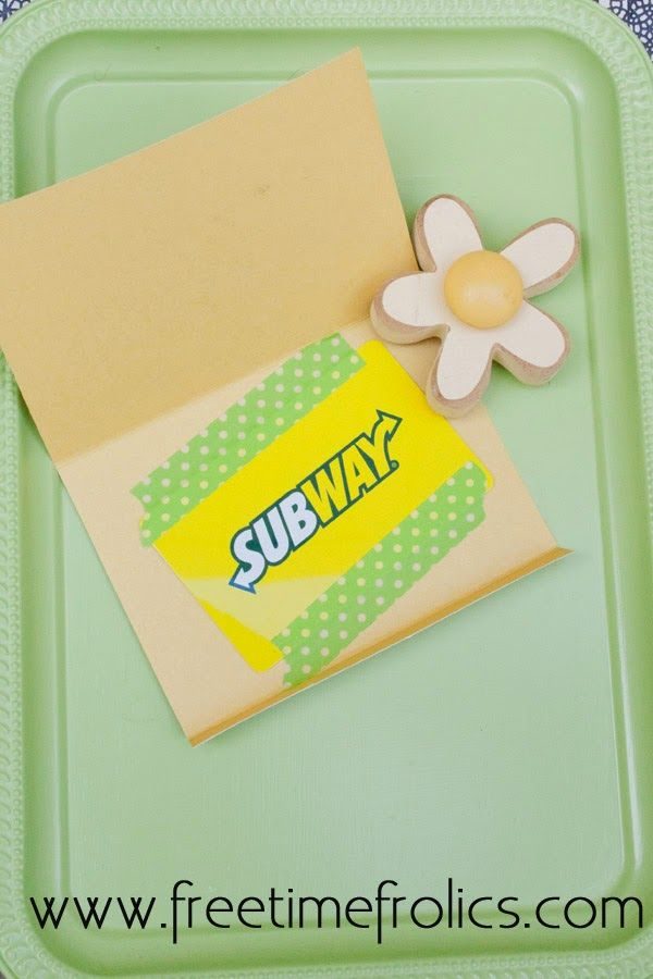 "Thank You ""Subway"" Gift Card Printable 