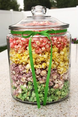8 cups popped popcorn 1/4 cup butter 3 T. light corn syrup 1/2 cup sugar 1- 3.5oz box jello, any flavor (not the sugar free kind)