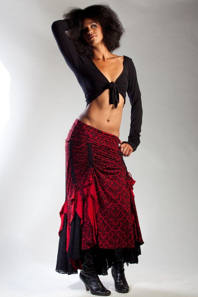 Red/Black Victorian Flamenco Skirt   Phoenix Rising Designs