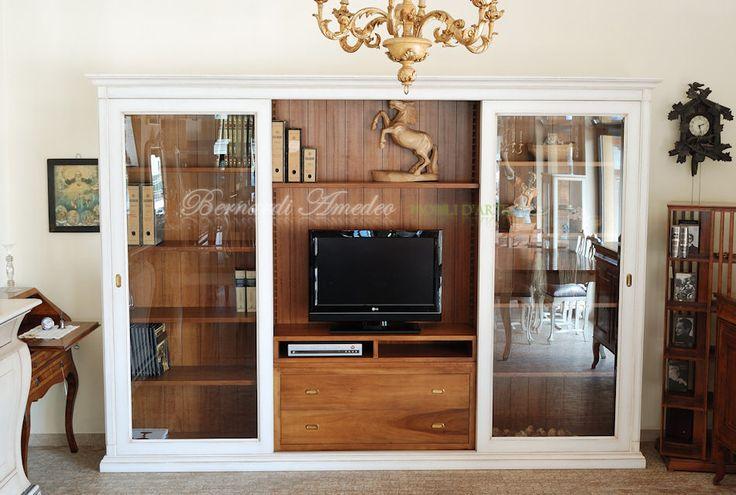 Sliding doors bookcase - Libreria porta Tv con ante scorrevoli, finitura bicolore