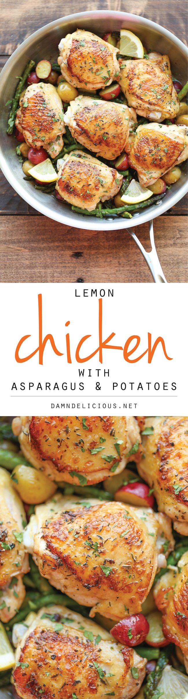 Lemon Chicken with Asparagus and Potatoes - Crisp-tender chicken baked to…