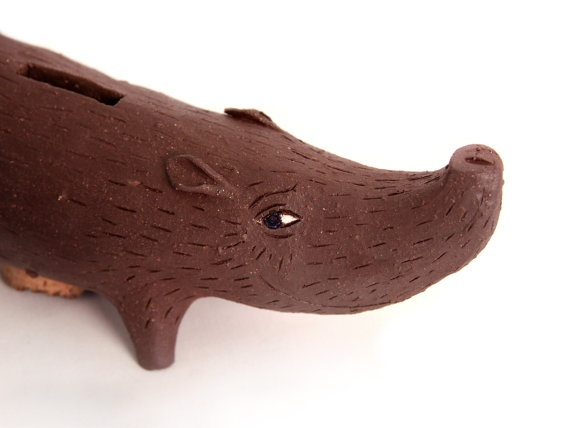 Rustic Scandinavian Modern Ceramic Javelina Piggy Bank by lsheely, $225.00