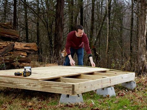 Parts and Tools: two concrete deck blocks, two 4 x 4 floor posts, 2 x 6 floor joists, 3/4-inch plywood sheathing, 2-1/2 inch decking screws; reciprocating saw, circular saw Cut three floor joists to 67-3/4 inches, and install them, along with the remaining deck blocks and 4 x 4 posts. Use a reciprocating saw to trim the tops of the 4 x 4s flush with top of the frame. Then, attach the 3/4-inch plywood floor deck with 2-1/2-inch decking screws placed 12 inches apart. Use a circular saw to trim…