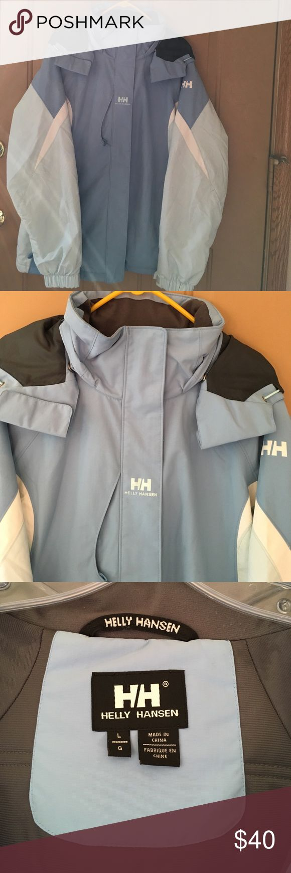 """Helly Hansen Perfect Balance Powder Jacket Helly Hansen """"Powder"""" Ski Jacket- Blue exterior with gray interior. Removable hood. Worn twice, in great condition, super clean. Non smoking, no pet home.  Size L Helly Hansen Jackets & Coats Utility Jackets"""