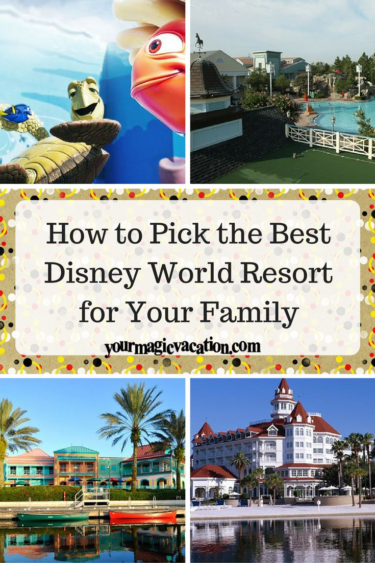 How to Pick the Best Disney World Resort for Your Family   If you are considering a Walt Disney World vacation for your family, you will find many options to consider.  With choices ranging from Value to Deluxe Villa accommodations, it can be a challenge!  Today, we will look at the four main categories of Disney Resort Hotels.