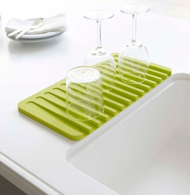 Self-Draining Dish Rack The sloped design on this dish rack keeps your countertops dry and your glassware away from potential bacteria that could be growing on an old dishrag. (Source: Amazon)