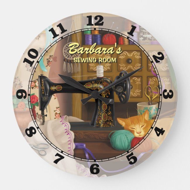 Sewing Machine Personalizable Wall Clock Sewing Tailor Singer Clothing Craft In 2020 Personalized Wall Clock Clock Wall Clock