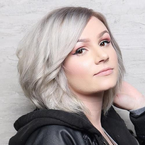 Silver Blonde Side Parted Bob