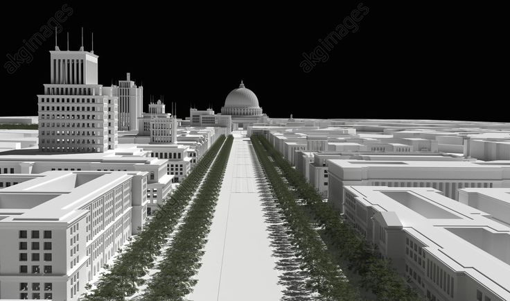 """Welthauptstadt Germania / 1939 / 3D Reconstruction Welthauptstadt Germania ( """"World Capital Germania"""") : refers to the projected renewal of the German capital Berlin during the Nazi period, part of Adolf Hitler's vision for the future of Germany after the planned victory in World War II. (Albert Speer, the """"first architect of the Third Reich"""", produced many of the plans for the rebuilt city in his capacity as overseer of the project, only a small portion of which was realized between the…"""