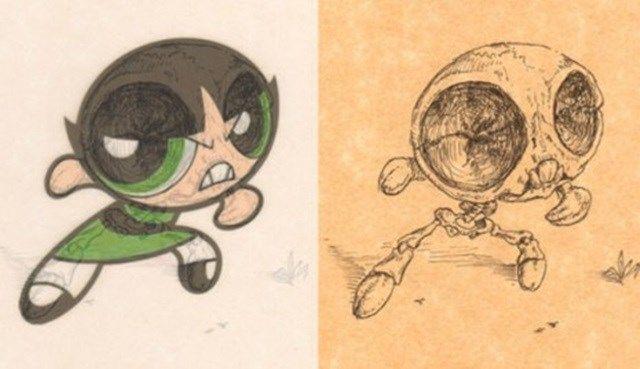 Docinho das Meninas Super Poderosas | Veja como seria o esqueleto de 15 personagens de desenhos animados