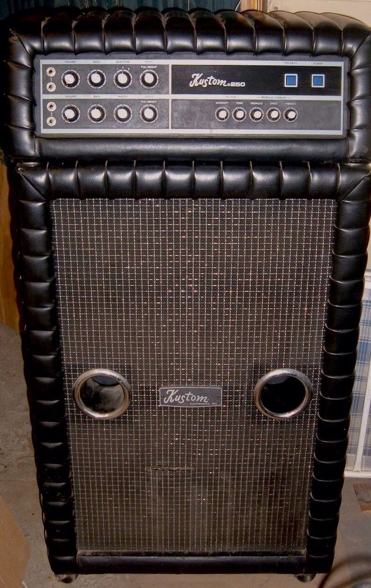 1971 kustom 250 amp and 2x15 speaker cabinet with selectone tremolo reverb and vibrato